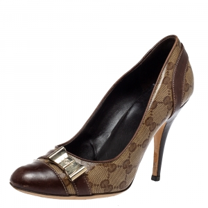 Gucci Brown GG Canvas And Leather Bow Cap Toe Pumps Size 38.5
