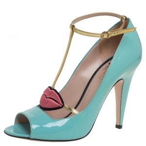 Gucci Blue Patent Leather Molina Sandals Size 40 - used
