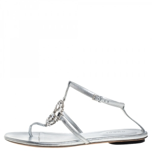 Gucci Metallic Silver Leather GG Interlocking Crystal Ankle Strap Sandals Size 36.5 - used