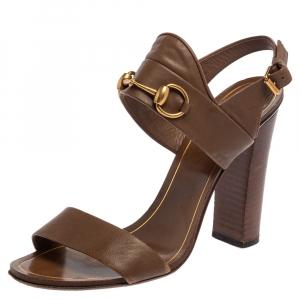 Gucci Brown Leather Horsebit Slingback Block Heel Sandals Size 38.5 - used