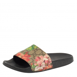 Gucci Multicolor Coated Canvas GG Blooms Supreme Slide Sandals Size 36 - used