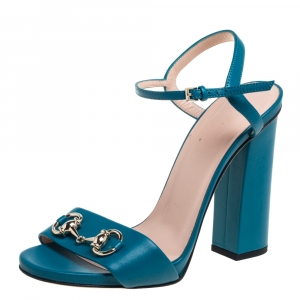 Gucci Blue Leather Horsebit Ankle Strap Open Toe Block Heel Sandals Size 38 - used
