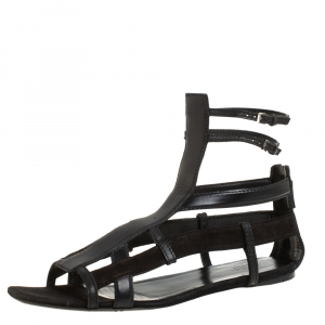 Gucci Black Suede And Leather Caged Sandals Size 39 - used