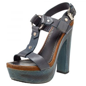Gucci Grey Leather Platform Sandals Size 39 - used