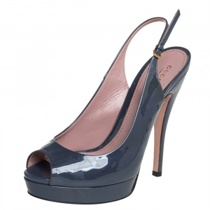 Gucci Dark Grey Patent Leather Peep Toe Slingback Sandals Size 39.5 - used
