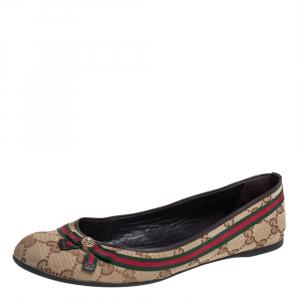 Gucci Beige GG Canvas Mayfair Web Bow Detail Ballet Flats Size 39.5