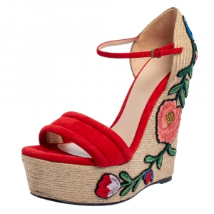 Gucci Red Suede Floral Embroidered Wedge Platform Ankle Strap Espadrilles Size 39