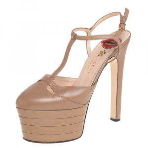 Gucci Beige Leather T-Strap Platform Pumps Size 39