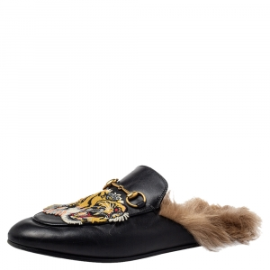 Gucci Black Tiger Embroidered Leather And Fur Lined Princetown Horsebit Mules Size 38