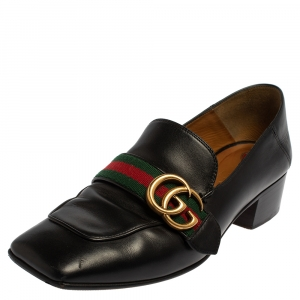 Gucci Black Leather GG Marmont Web Pumps Size 37.5