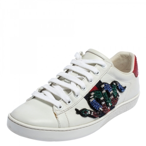Gucci White Leather Snake Embroidered Ace Sneakers Size 38