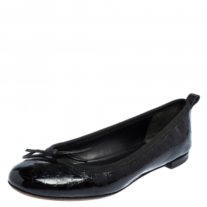 Gucci Black Microguccissima Leather Bow Detail Ballet Flats Size 36 - used