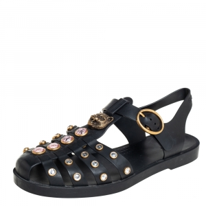 Gucci Black Rubber GG Fisherman Embellished Flat Sandals Size 36