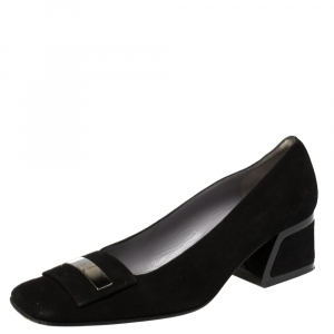 Gucci Black Suede Square Toe Pumps Size 37