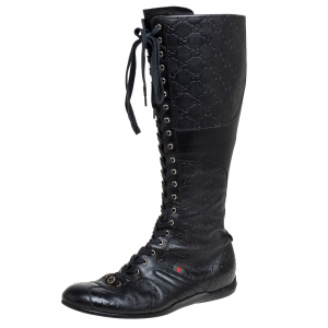 Gucci Black Leather Guccissima Knee High Boots Size 39