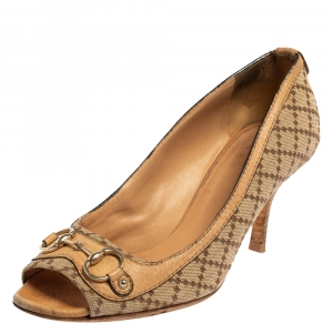 Gucci Beige/Brown Diamante Canvas And Leather Horsebit Peep Toe Pumps Size 38