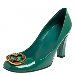 Gucci Teal Green Patent Leather GG Interlocking Pumps Size 35.5