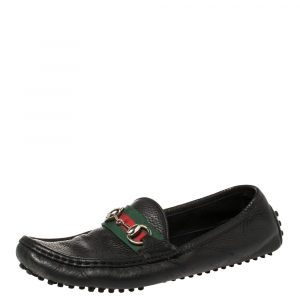 Gucci Black Leather Web Horsebit Loafers Size 38