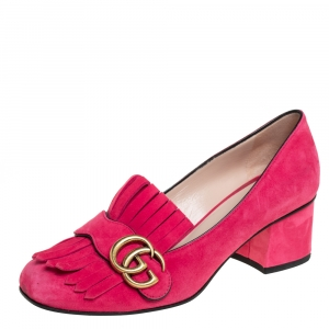 Gucci Pink Suede Double G Loafers Pumps Size 37