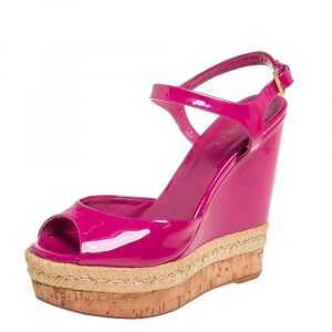 Gucci Pink Patent Leather Hollie Wedge Sandals Size 37.5 - used
