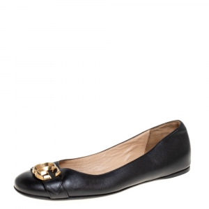 Gucci Black Leather GG Buckle Ballet Flats Size 36