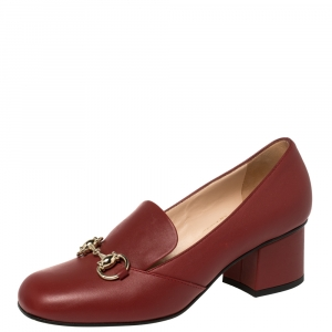 Gucci Burgundy Leather Horsebit Loafer Pumps Size 35