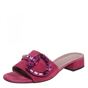 Gucci Pink Suede Embellished Horsebit Sandals Size 38.5