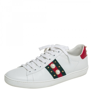 Gucci White Leather Ace Faux Pearl Embellished Studded Low Top Sneakers Size 39