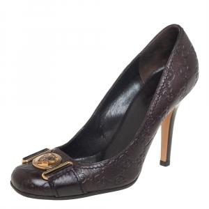 حذاء كعب عالي غوتشي هيستيريا جلد غوتشيسيما بني مقاس 38.5