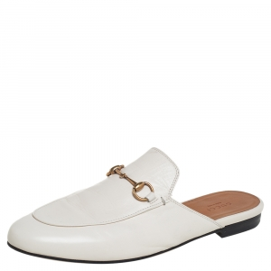 Gucci White Leather Horsebit Princetown Mules Size 39.5