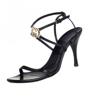 Gucci Black Leather Interlocking GG Ankle Strap Sandals Size 38