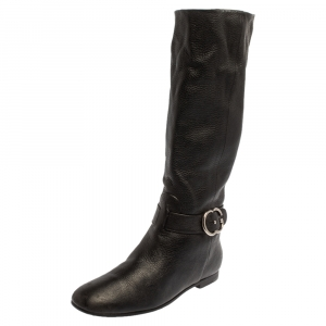 Gucci Black Leather Knee Length Boots Size 40