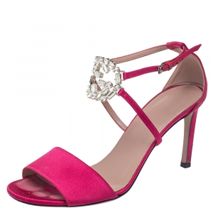 Gucci Pink Satin Crystal Embellished Interlocking G Ankle Strap Sandals Size 38.5