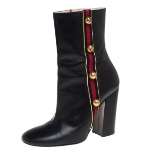 Gucci Black Leather Carly Malaga Boots Size 38 - used