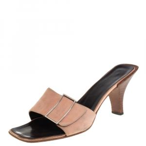 Gucci Pale Pink Suede Vintage Square Toe Slide Sandals Size 37.5 - used
