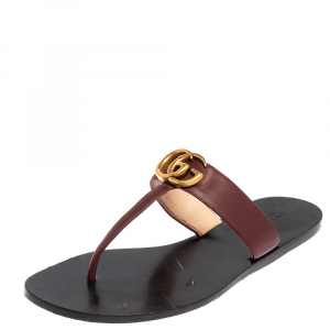Gucci Burgundy Leather GG Marmont Thong Sandals Size 39 - used