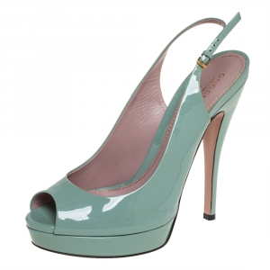 Gucci Mint Green Patent Leather Peep Toe Slingback Sandals Size 40 - used