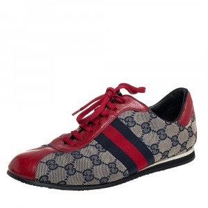 Gucci Beige GG Canvas And Red Leather Web Low Top Sneakers Size 38