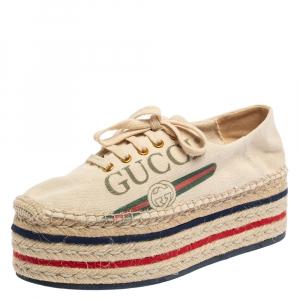 Gucci Cream Canvas Platform Espadrille Lace Up Sneakers Size 39