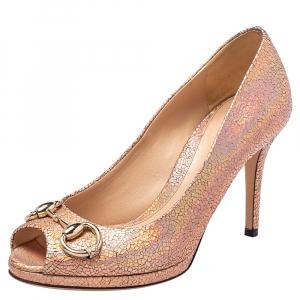 Gucci Metallic Gold Textured Leather Iridescent Horsebit Peep Toe Pumps Size 36