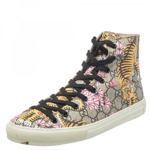 Gucci Beige GG Canvas Major Tiger Pearl Embellished High Top Sneakers Size 38