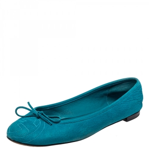 Gucci Blue Leather Soho Ballet Flats Size 39