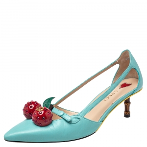 Gucci Blue Leather Cherry-Embellished Pumps Size 36