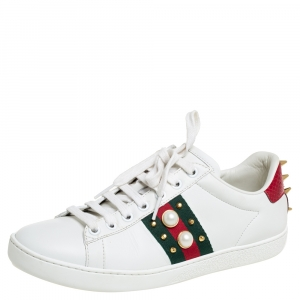 Gucci White Leather and Python Embossed Leather Ace Studded Sneakers Size 37