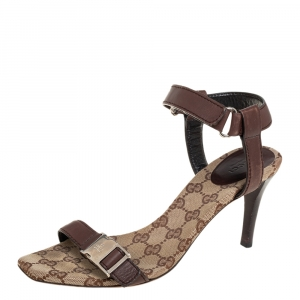 Gucci Brown Leather Side Release Buckle Detail Open Toe Ankle Strap Sandals Size 39 - used