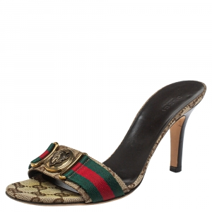 Gucci Beige Canvas Hysteria Sandals Size 37.5