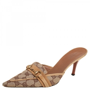 Gucci Beige GG Canvas And Leather Supreme Mule Sandals Size 37.5 - used