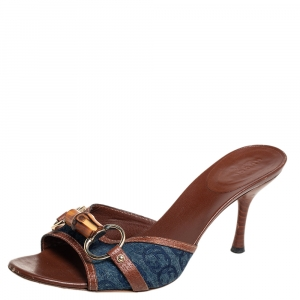 Gucci Blue Denim And Leather Trim Horsebit Open Toe Sandals Size 38 - used