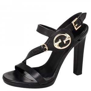 Gucci Black Leather Open Toe Ankle Strap Sandals Size 37 - used