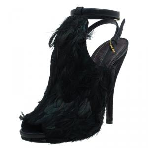 Gucci Dark Green Feathers and Suede Jane Peep Toe Booties Size 38